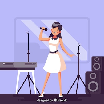 Flat woman practicing with a microphone