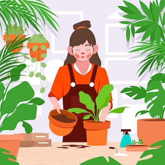 Flat woman taking care of plants as hobby