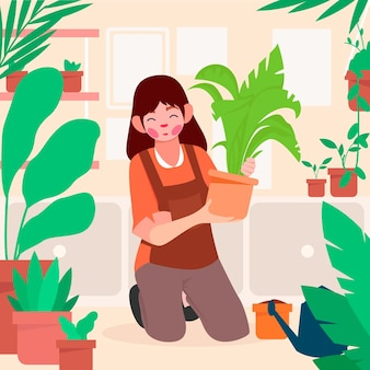 Flat woman taking care of plants