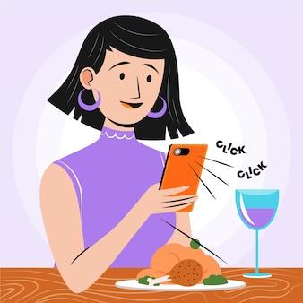 Flat woman taking food photos