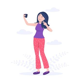 Donna piatta che prende selfie