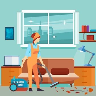 Flat woman vacuum cleaner in room