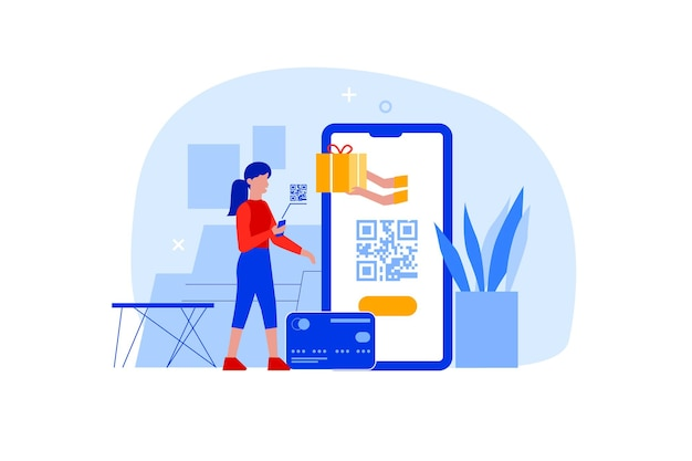 손에 휴대전화를 들고 있는 평평한 여성은 온라인 결제를 위해 qr 코드를 스캔합니다. 바코드 스캔 또는 현금 거래 기술을 위해 스마트폰 스캐너 id 앱을 사용하는 캐릭터. 비접촉식 쇼핑 개념입니다.