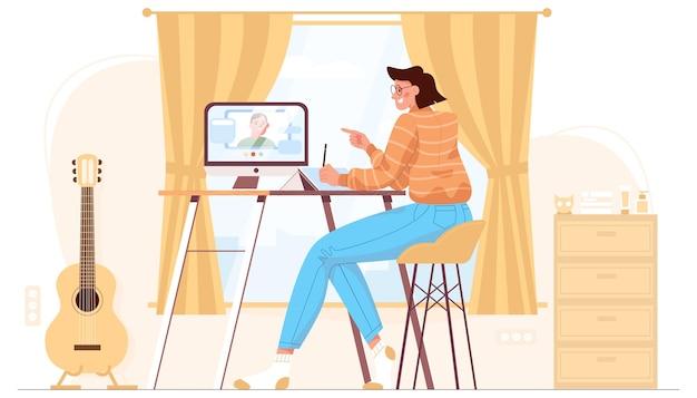 平らな女性は、コンピューターの椅子に座って、ホームオフィスで働いています。フリーランス、遠隔地の仕事、遠方の勉強のための快適な職場。ビデオ会議、同僚とのオンライン会議を実施する従業員。