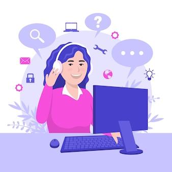 Плоская женщина, работающая в службе поддержки клиентов