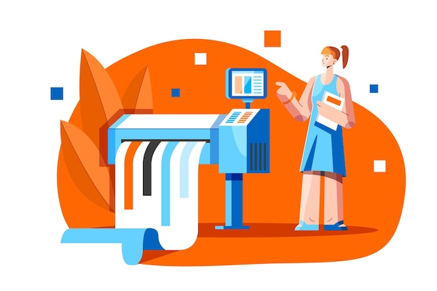 Flat woman working in printing industry