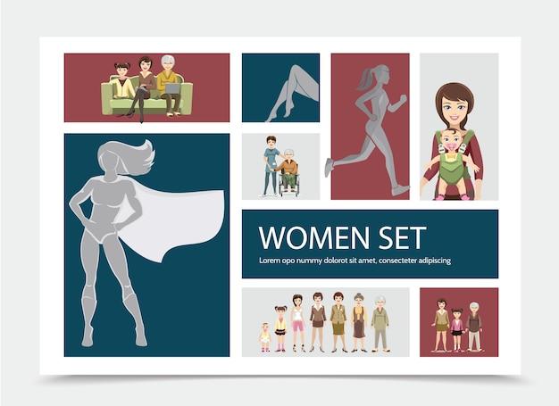 Composizione di personaggi di donne piatte