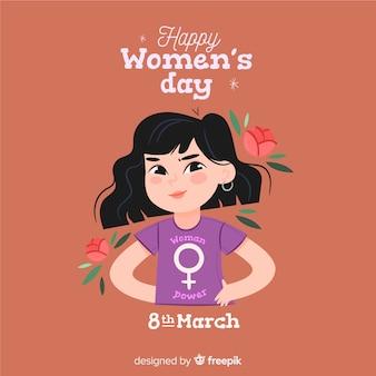 Плоский женский день фон