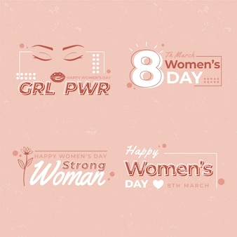 Flat women's day badge collection
