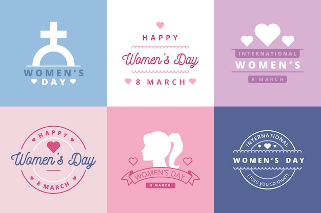 Flat women's day label collection