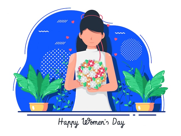 Flat women's day with woman holding a bouquet
