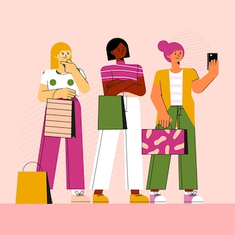 Flat women taking selfie with smartphone