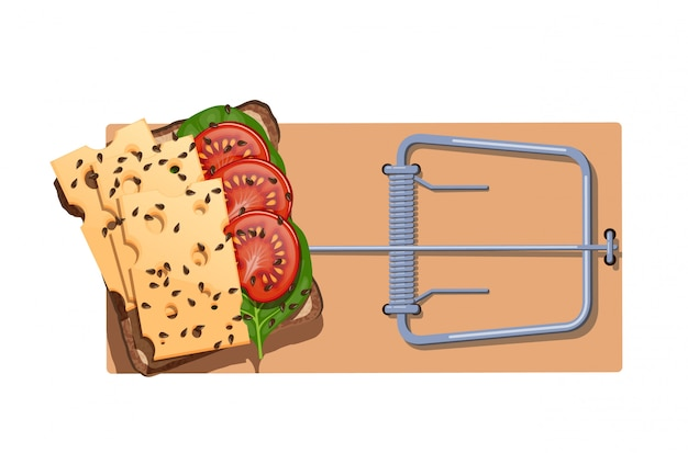 A flat wooden mousetrap with a cheese sandwich