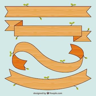 フラット木製のリボン