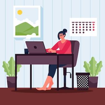 Scena di una giornata lavorativa piatta con dispositivo