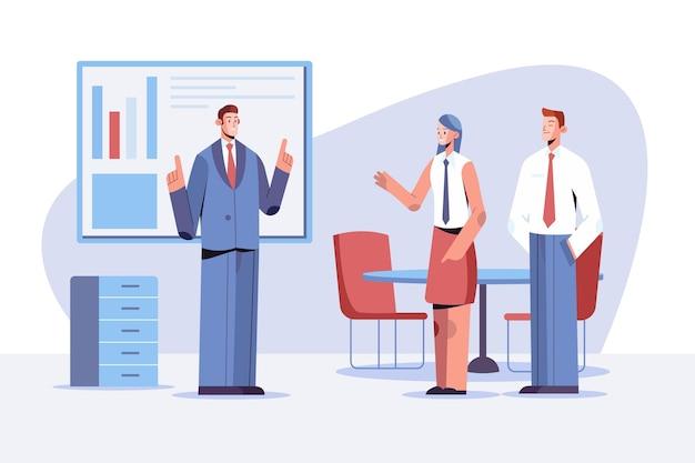 Scena di giornata lavorativa piatta con diversi uomini d'affari