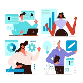 Flat working day scenes collection