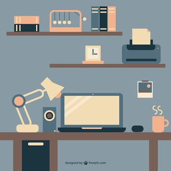 Flat working desk with coffee and laptop