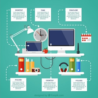 Flat workplace infographic of business