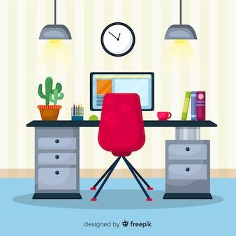 デスクと椅子を使用したフラットなワークスペースのコンセプト