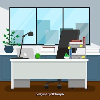 책상과 의자가있는 평면 작업 공간 개념
