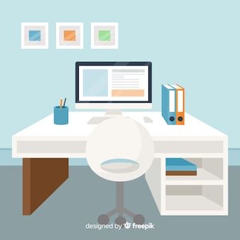 Flat workspace concept Free Vector
