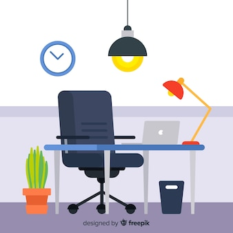 Flat workspace or office concept