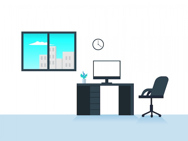 Flat workspace vector illustration