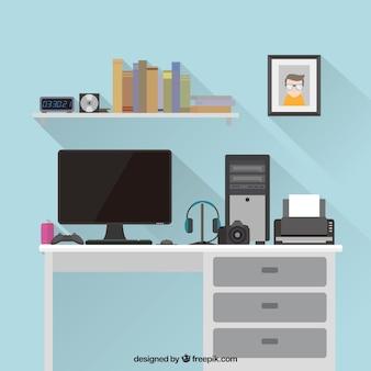 Плоское рабочее пространство с современными элементами
