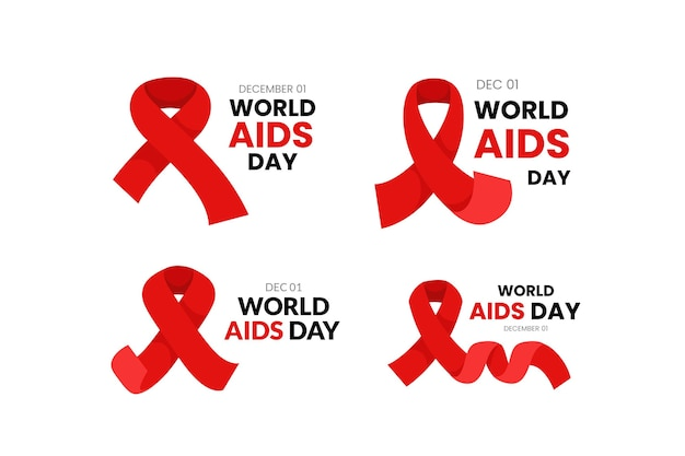 Flat world aids day badges collection