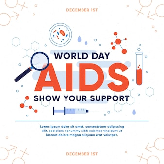 Flat world aids day - concept