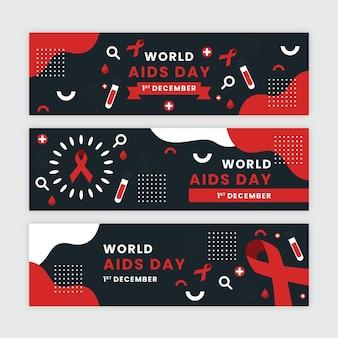 Set di banner orizzontali piatto per la giornata mondiale dell'aids