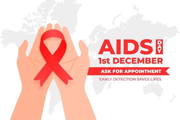 フラットな世界エイズデーは、赤いリボンを持っている人のイラスト