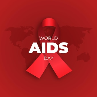 Flat world aids day illustrated red ribbon