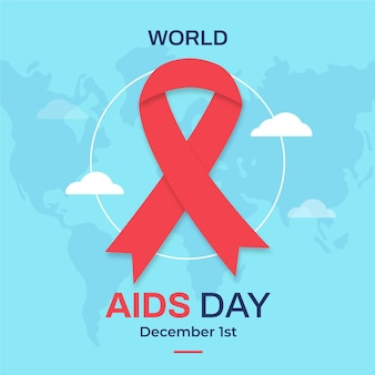 Flat world aids day illustrated ribbon on light world map