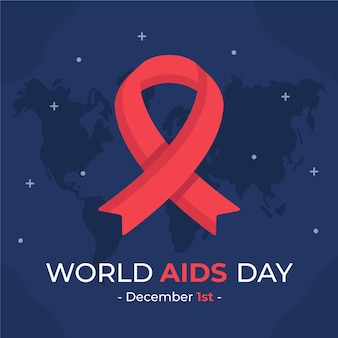 Flat world aids day illustrated ribbon on starry map
