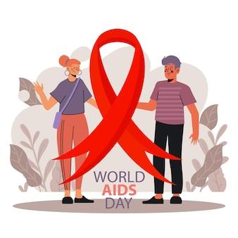 Flat world aids day illustration
