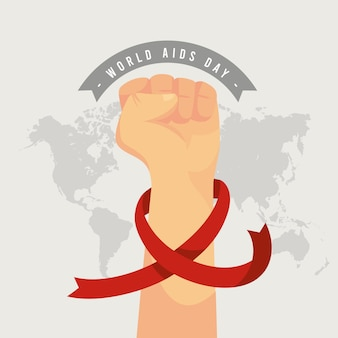 Flat world aids day illustration