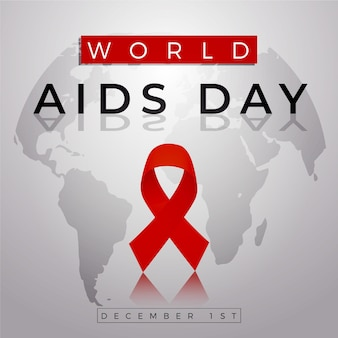 Flat world aids day ribbon on map