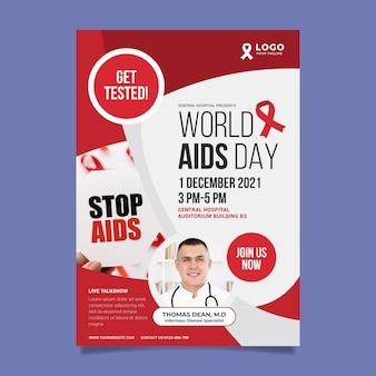 Modello di poster verticale piatto per la giornata mondiale dell'aids
