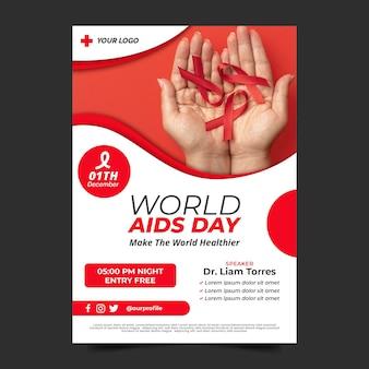 Flat world aids day vertical poster template