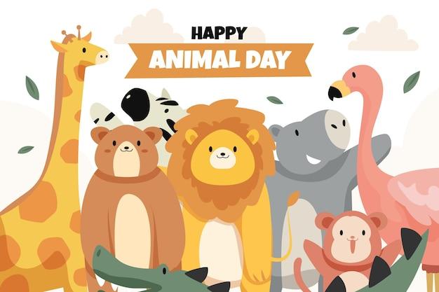 평평한 세계 동물의 날 배경