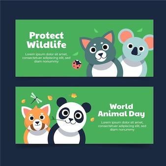 Set di banner per la giornata mondiale degli animali piatti