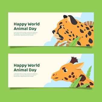 Set di banner orizzontali per la giornata mondiale degli animali piatti
