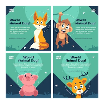 Collezione di post instagram per la giornata mondiale degli animali piatta