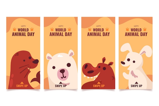 Flat world animal day instagram stories collection