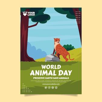 Modello di poster verticale piatto giornata mondiale degli animali