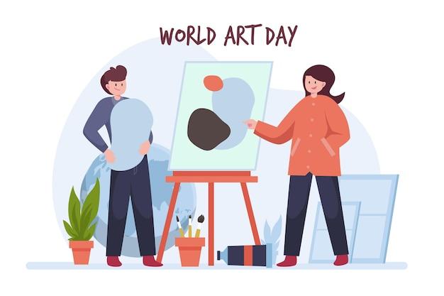 Плоский всемирный день искусства иллюстрация