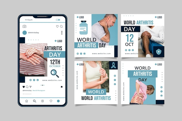 Flat world arthritis day instagram posts collection with photo