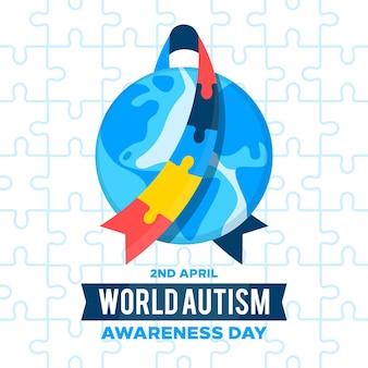 Плоская иллюстрация дня осведомленности об аутизме с частями головоломки